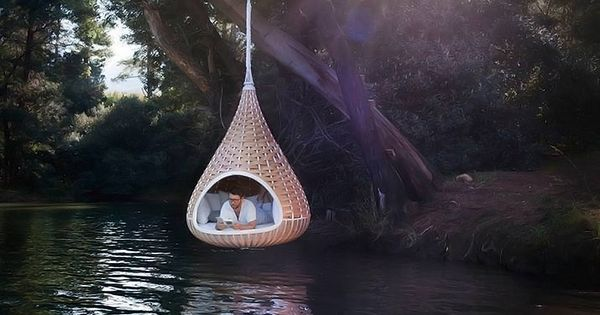 tree pod reading nook over a lake