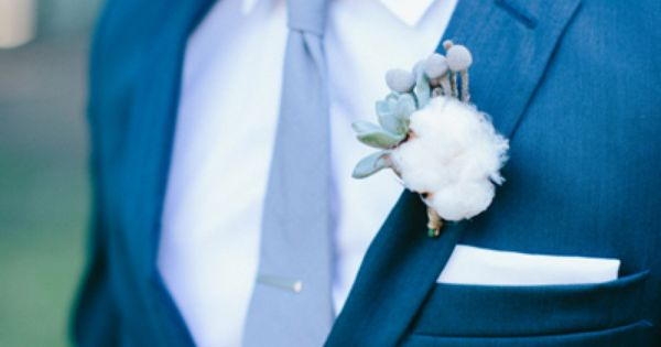 Wedding tie - cotton and winter berry boutonniere | Paige Winn