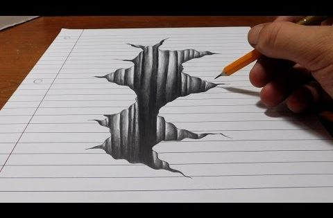 Line Drawing Illusion : Trick art on line paper drawing d hole youtube