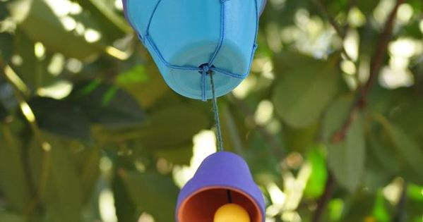 Colorful clay pot wind chime kids craft