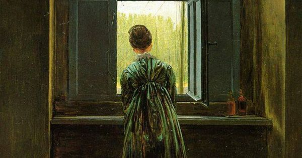 caspar david friedrich frau am fenster friedrichs frau caroline bommer 1822 berlino. Black Bedroom Furniture Sets. Home Design Ideas