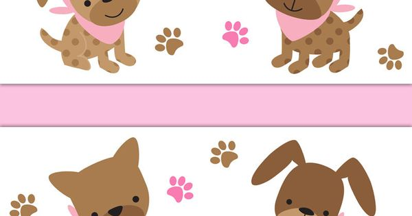 Details about Pink Puppy Nursery Wallpaper Border Decals