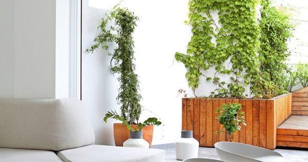 Cuisine bois et blanc donnant sur le salon blanc et la terrasse ...