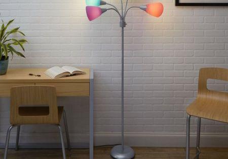 Mainstays 5 Light Multi Head Floor Lamp Silver With Multi Color Shade Walmart Com Color Floor Lamp 5 Light Floor Lamp Floor Lamp