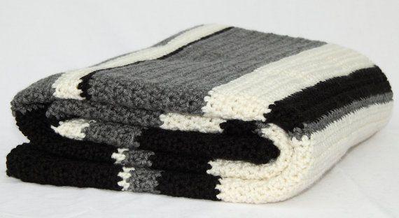 Items Similar To Large Cream Off White Grey Black Striped Crochet Blanket Handmade Modern Afghan Th Striped Crochet Blanket Crochet Blanket Handmade Modern