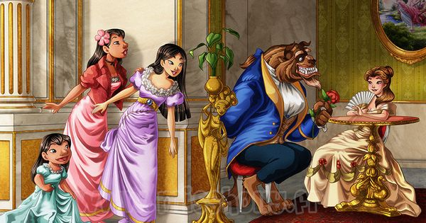 Lilo, Nani and Mulan spying. One of the Muses from Hercules is