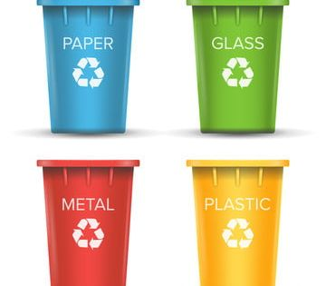 Multicolored Recycling Bins Vector 3d Realistic Set Of Red Green Blue Yellow Buckets For Paper Glass Metal Plastic Sorting Isolated On White Bin Clipart Bin In 2021 Geometric Pattern Background
