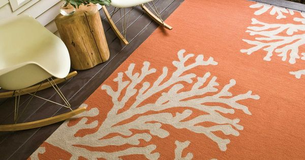 Orange & Gray Coral Rug, Hand Hooked Rug, Coastal Home Rug, Beach