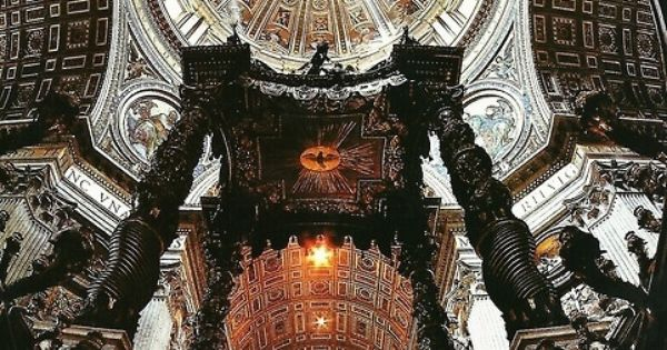 Inside of the Basilica of St. Peter at Vatican City italy rome