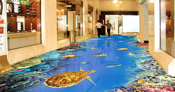 Rev tement de sol fond marin dans le couloir d 39 un centre for Revetement mural couloir