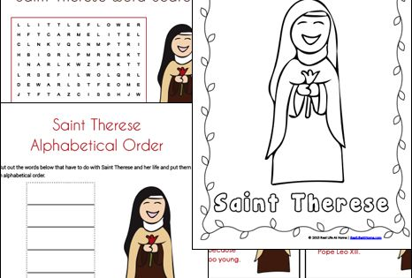 Saint Therese Printables and Worksheet