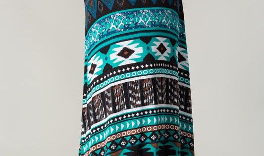 Tribal Turquoise Maxi Skirt