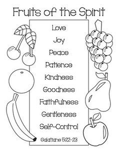 Fruits Of The Spirit Bible Coloring Pages Fruit Of The Spirit