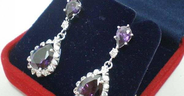 Amethyst Purple Teardrop Pear Shaped Silver Ear Stud