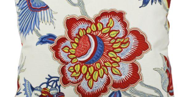 "Blue Red & Yellow Floral Fabric ""Samoan Plantation, Gem"