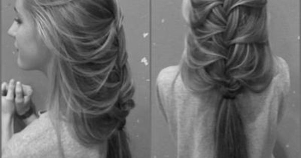 For long hair. Loose french braid