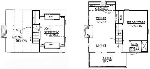 Under A 1000 Sq Ft House Plans With Loft Material List Only