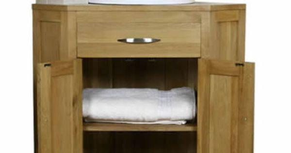 Solid light oak corner bathroom vanity sinks unit cabinet basin vanities mb514a the jim - Light oak bathroom vanity units ...
