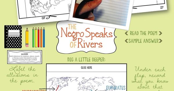 negro speaks of rivers analysis The negro speaks of rivers was one of his first poems, written at the age of 17 in 1920 was inspired by the mississippi river as his train crossed it as well as carl sandberg and walt whitman was published in the crisis an african-american based magazine.