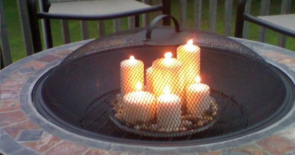 Fire Pit With Candles Candles Pinterest Glass Table