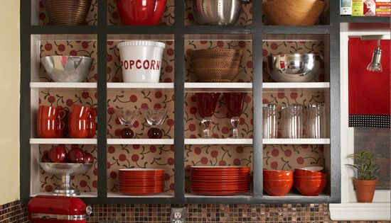 Open shelving... awesome idea for a large kitchen. awww house shopping will
