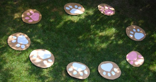 musical chairs, played on the grass with cardboard circles decorated with paper