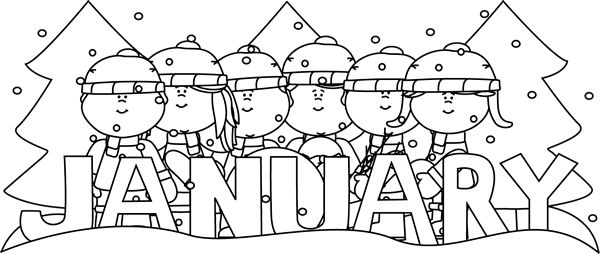 Black And White Black And White Month Of January Winter Kids Color 1 Letter Per Day Of Practice Coloring Pages Kid Coloring Page Coloring Pages Winter