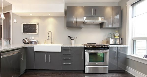 grey galore modern ikea kitchen with a farmers sink andre contemporary loveseat in gray tweed and stainless steel