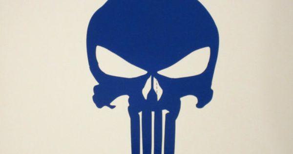 Highly Reflective Blue Punisher Decal 4 Helmet Hardhat