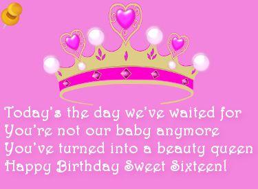 Sweet Sixteen Verjaardagswens Happy Birthday Sweet Sixteen