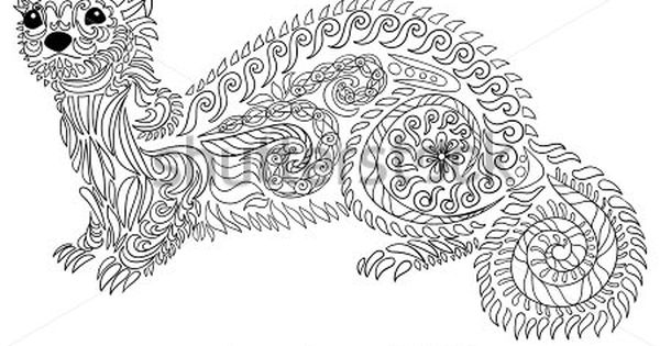 Adult Coloring Page For Anti Stress Art Therapy Hand Drawn Ferret