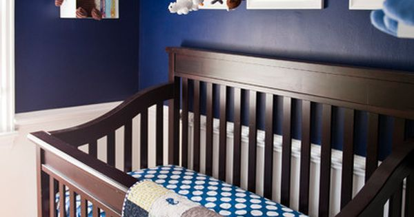 eclectic navy nursery interior style furnished with dark brown crib covered by blue white crib. Black Bedroom Furniture Sets. Home Design Ideas