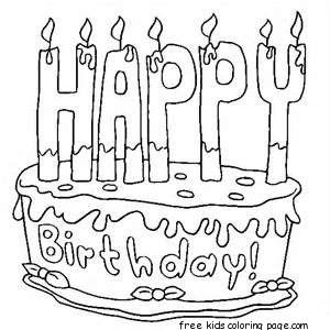 Printable Happy Birthday Cake Coloring Pages Happy Birthday
