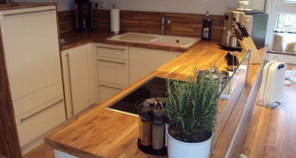 Arbeitsplatte Holz Herd Glasabtrennung  Küche  Pinterest