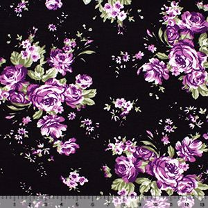 Purple Rose Floral On Black Cotton Jersey Blend Knit Fabric Beautiful Roses Bouquet Purple Roses Fabric