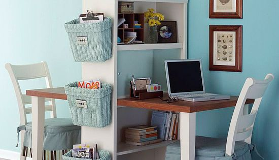 How to Create an Office in a Small Space office smallspace www.organizetips.com