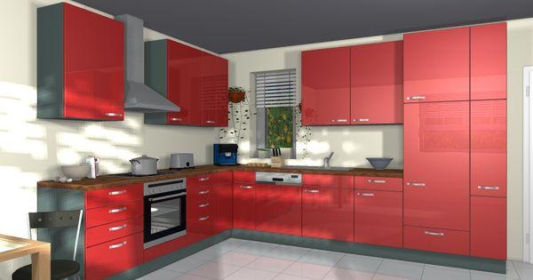 Nobilia Glanz Küchen Gloss Rot Hochglanz L-Küche Küchen Pinterest - alno küche gebraucht