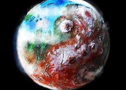 Orbital photo of a terraformed Mars 1000 years from now ...