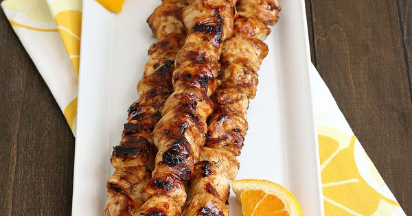 Orange Teriyaki Chicken Kabobs -- by Tracey's Culinary Adventures.