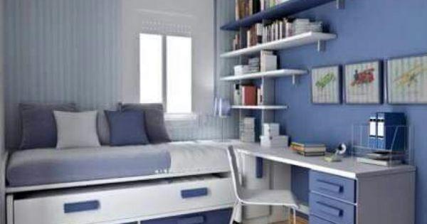 Azul y blanco idea recamara peque a ventana en esquina - Escritorios para habitaciones pequenas ...