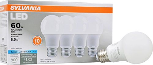 Sylvania 60w Equivalent Led Light Bulb A19 Lamp 4 Pack Daylight