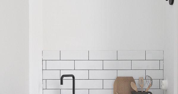 Grey kitchen black tap white tiles Kitchen inspiration scandinavian style decor interior design ...