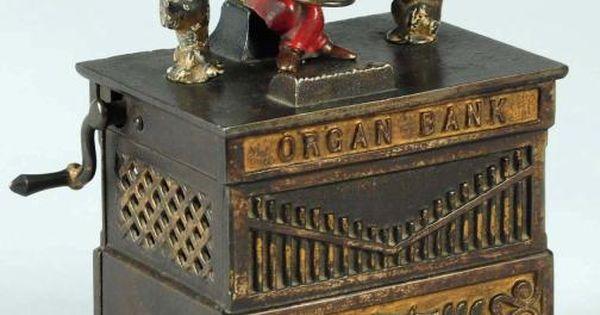 old organ cat amp dog mechanical bank manufactured by hl