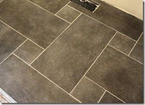 Hard To Tell But These Are 12x24 And 6x6 Porcelain Tiles In A Powder Room Description From Kitchensync Typepad Co Flooring Patterned Floor Tiles Tile Patterns