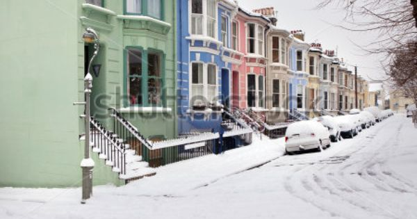 Houses In Winter Snow Victorian Or Edwardian English Architecture