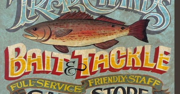 Poster Bait And Tackle Fish Fishing Signs