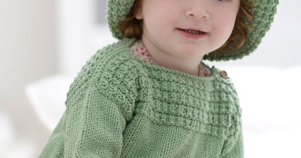 Baby Boat Neck Sweater and Sun Hat Knitting Pattern This comfortable sweater ...
