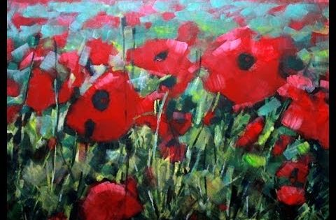How to paint with acrylics field of poppies abstract - How to paint poppy flowers ...