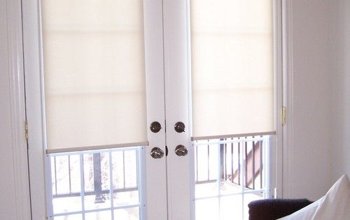 Roller shades with cassettes on french doors french door for Roller screens for french doors