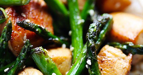chicken & asparagus stir fry w/ soy sauce/tamari, honey, boneless skinless chicken